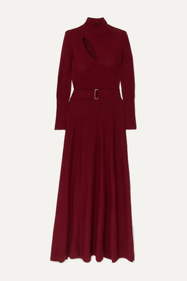 Nicholas Belted Cutout Wool And Cotton-blend Maxi Dress - Claret