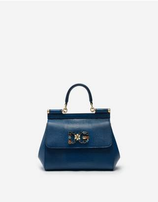 Dolce & Gabbana Small Iguana Print Calfskin Sicily Bag With Crystal Logo Patch