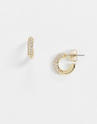 NY:LON chunky diamante hoop earrings in gold