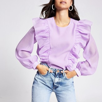 River Island Womens Petite Purple ruffle front blouse