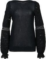 Oscar de la Renta long ruffle sleeve bateau neck blouse - women - Cotton - S