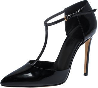 Gucci Black Patent Leather Pointed Toe T-Strap Pumps Size 36