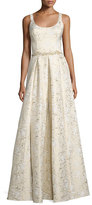 Marchesa Sleeveless Scoop-Neck Embroidered Gown, Gold