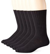 Fruit of the Loom Men's 6 Pack Half-Cushioned Solid Mock Rib Crew Socks