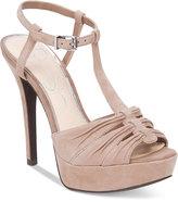 Jessica Simpson Bassie Ruched T-Strap High-Heel Platform Sandals
