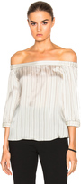Tibi Striped Off Shoulder Top