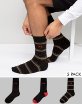 Pringle Mini Heart Socks 3 Pack Black