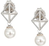 Majorica 6mm Round Pearl and Pyramid Stud Accent on Sterling Silver Stud Earrings
