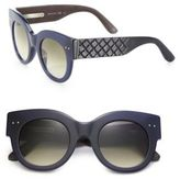 Bottega Veneta 48MM Bold Rounded Leather Sunglasses