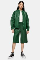 Topshop Womens **Green Leather Bomber Jacket By Green