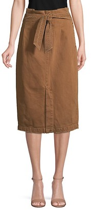 Free People Tie-Front Cotton Knee-Length Skirt