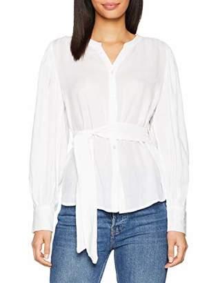 SPARKZ Women's Sabine Blouse Regular Fit Plain V-Neck Long Sleeve Blouse,10 (Manufacturer Size: M)
