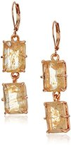 Vince Camuto Leverback Double Drop Stone Citrine Glass Earrings