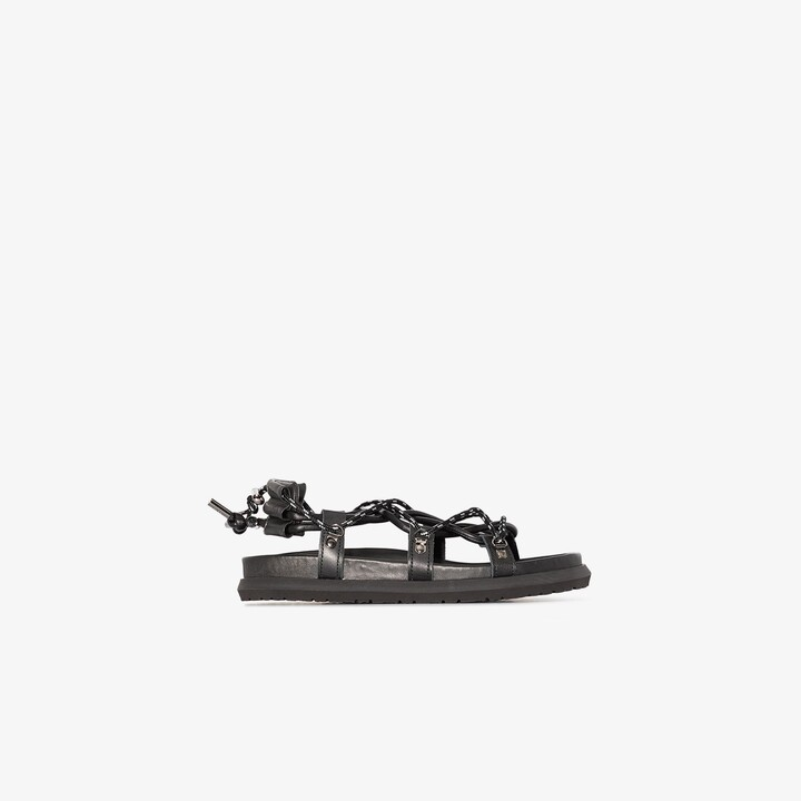 Sacai Black Lace-Up Leather Sandals