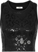 Fendi Wonders Embroidered Coated Stretch Sports Bra - Black