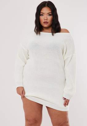 Missguided Plus Size White Knitted Off The Shoulder Jumper Dress