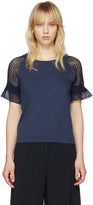 See by Chloe Blue Lace Sleeve T-shirt