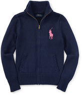 Ralph Lauren Cotton Zip-Up Mockneck Sweater