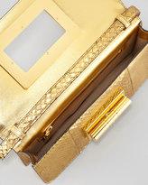Tom Ford Natalia East-West Python Shoulder Bag, Gold