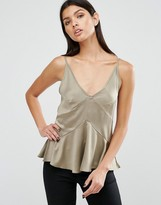 Asos Premium Satin Cami Top with Seam Detail