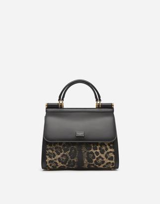Dolce & Gabbana Medium Sicily 58 Bag In Leopard Print Raffia