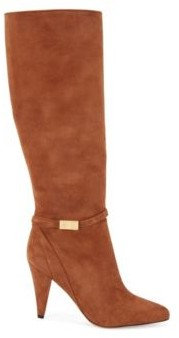 HUGO BOSS Knee-high boots in Italian suede with monogram hardware