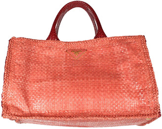 Prada Red Woven Leather Madras Tote