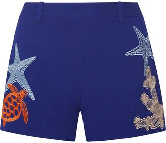 Emilio Pucci Embroidered Crepe De Chine Shorts