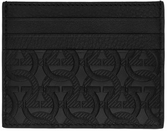Salvatore Ferragamo Black Embossed Logo Card Holder