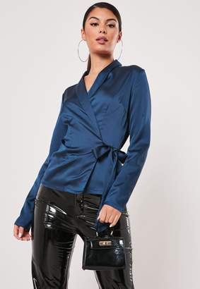 Missguided Navy Satin Long Sleeve Wrap Top