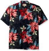 Margaritaville Men's Short Sleeve Poinsettia Paradise Print Shirt