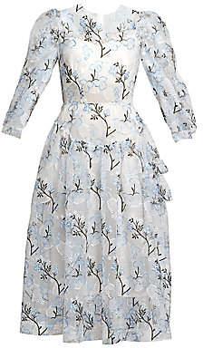 Simone Rocha Women's Embroidered Puff-Sleeve Tulle Midi Dress