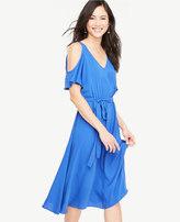 Ann Taylor Cold Shoulder Belted Dress