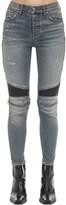 Amiri Leather Patched Cotton Denim Pants
