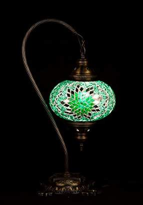 Green Handmade Turkish Lamp Moroccan Ottoman Style Mosaic Swan Neck Desk Table Light Bedroom Restaurant Cafe Decoration Light Size 3