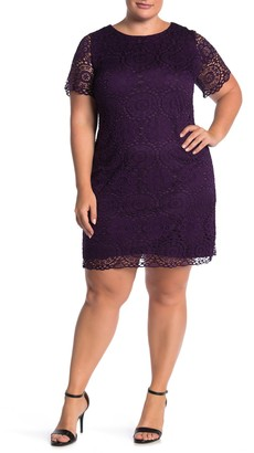 Laundry by Shelli Segal Lace Cap Sleeve Dress (Plus Size)