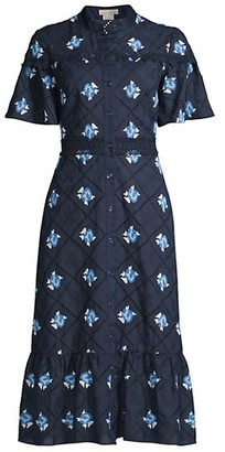 Shoshanna Embroidered Eyelet Button-Up Dress
