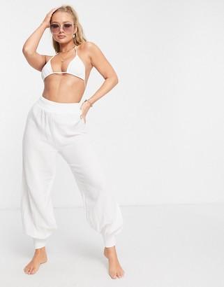 ASOS DESIGN shirred harem beach pants in white