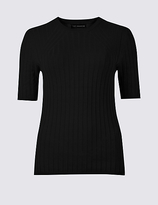M&S Collection PETITE Textured Half Sleeve Jumper