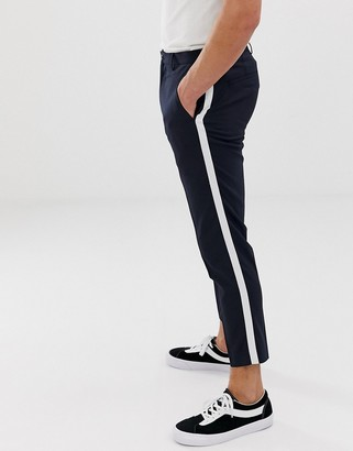 Burton Menswear tapered trousers with side stripe in navy