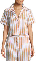 Frame Short-Sleeve Button-Down Striped Crop Shirt