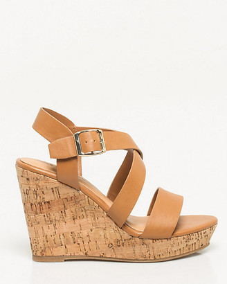 Le Château Faux Leather Criss-Cross Wedge