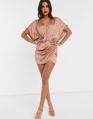 ASOS DESIGN wrap mini dress with over stud embellishment detail