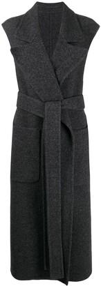 Ami Sleeveless Wrap-Front Belted Coat