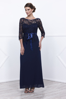 Unique Vintage Navy Three-Quarter Lace Sleeve Long Dress With Ribbon