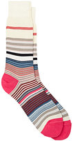 Paul Smith Men's Fuel-Striped Cotton-Blend Mid-Calf Socks-WHITE