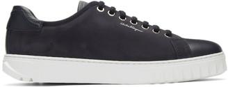 Salvatore Ferragamo Navy Cube Sneakers