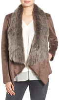 BCBGeneration Faux Shearling Drape Front Jacket