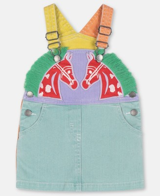 Stella Mccartney Kids Horses Denim Overall Dress, Unisex