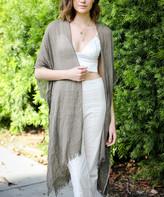 Leto Collection Women's Kimono Cardigans DARK - Dark Mocha Sequin-Accent Fringe-Hem Kimono - Women